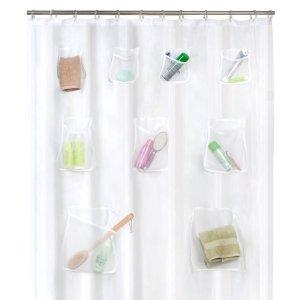 Maytex Mesh Pockets PEVA Shower Curtain Clear, 70 x 72 inches
