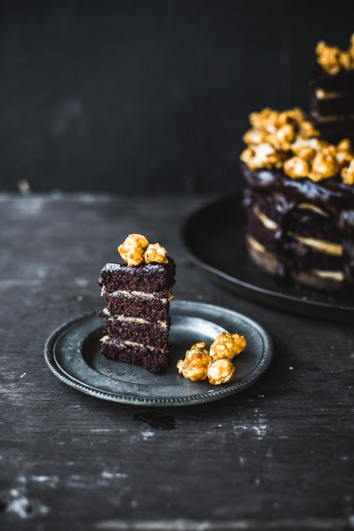 Double Chocolate-Peanut Butter Layer Cake with Caramel Popcorn - Izy ...