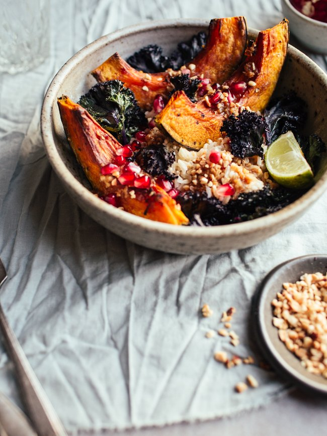Squash & Crispy Kale Bowls with Pomegranate and Miso-Ginger Dressing ...