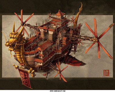 The Imperial Airship - an industrialized, high-tech Forbidden Kingdom
