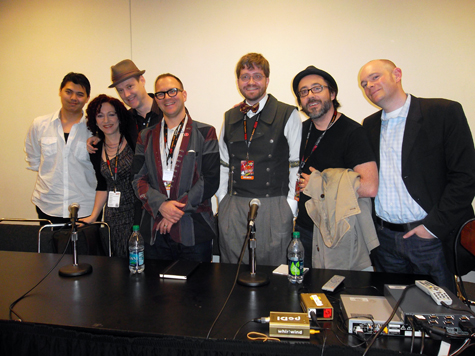 Image above are the panelist at NYCC. From left to right: film editor Alan Winston, Boilerplate authors Anina Bennett & Paul Guinan, author Cory Doctorow, cultural historian James Carrott, director Bryd McDonald, and producer Brian David Johnson