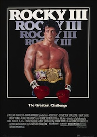 Why is 'Rocky III' written FOUR times on the poster?