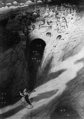 The City of Never, an illustration by Sidney Sime for The Book of Wonder (1912)