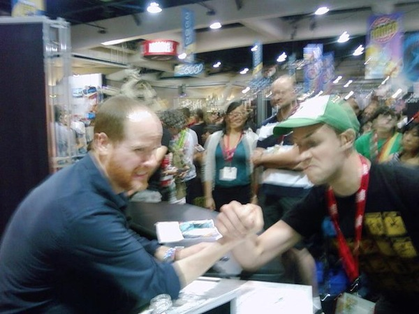SDCC 2010 Joss Whedon arm wrestle