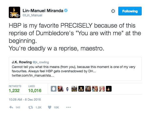 Lin Manuel Miranda Harry Potter Half Blood Prince J.K. Rowling Twitter