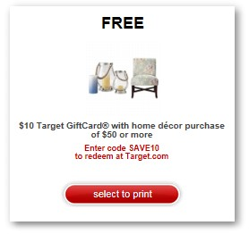 Free 10 Gift Card When You Spend 50 In Home Decor Target Coupon Now Available As A Printable