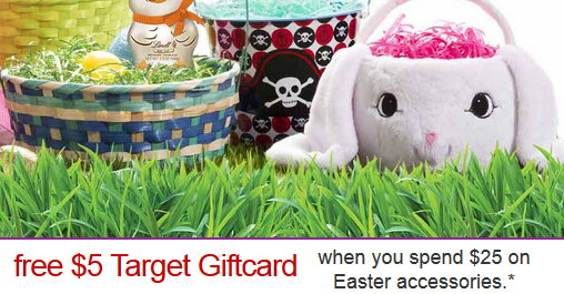 Free 5 target gift card with an easter shop purchase of 25 or need of some last minute easter items thru 44 target is offering up some additional savings both in store and online with a free 5 target gift card negle Choice Image