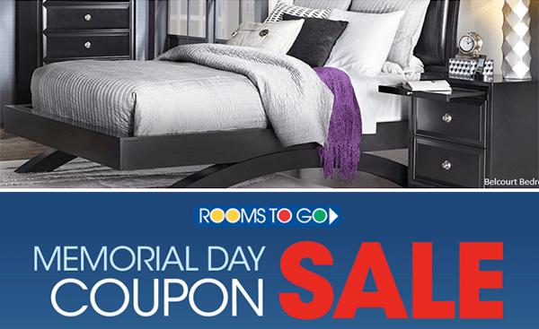 Rooms To Go: Memorial Day Coupon Sale Thru 5/29