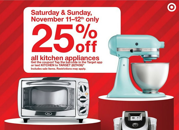 kitchen appliances hot mobile coupon coming  u2013 get an extra 25  off all kitchen      rh   totallytarget com