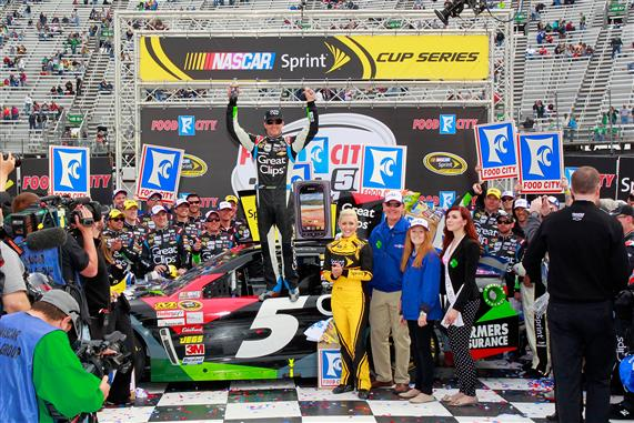 Geoff Burke/Getty Images Kasey Kahne, driver of the #5 Great Clips Chevrolet, celebrates in Victory Lane after winning the NASCAR Sprint Cup Series Food City 500 at Bristol Motor Speedway on March 17, 2013 in Bristol, Tennessee.