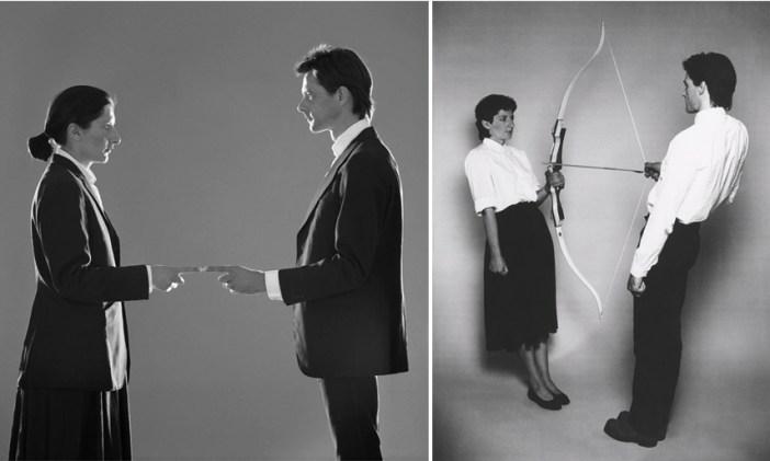 Esquerda: Marina Abramovice Ulay – That Self – Point of Contact, 1980 / Direita: Marina Abramovic e Ulay – Rest Energy