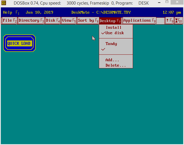 Exploring Tandy Deskmate on DOSBox v0 7 4 | ToughDev
