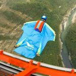 Flying with a wing suit.