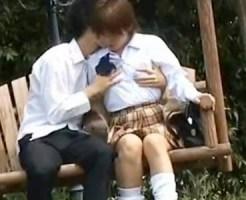 【JK青姦盗撮動画】どこでもヤリまくる女子校生カップルのSEX映像が隠し撮りされSNSで拡散されたww