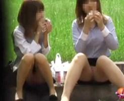 【OLパンチラ動画】昼休憩に公園でランチを楽しむタイトスカートOLの下着を隠し撮りww