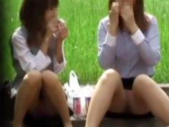 【パンチラ隠撮動画】公園で昼食を食べる素人OLがパンスト越しに丸見えとなっている座りパンチラを接写撮りww