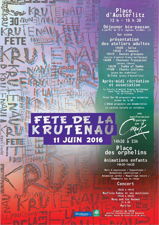 Affiche de la Fête de la Krutenau 2016 organisé par le Cardek