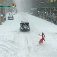 YouTube Star Snowboards Behind a Jeep During NYC's Historic Blizzard: WATCH