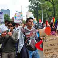 Protesters for gay marriage at the 2009 Marcha Gay in Mexico City