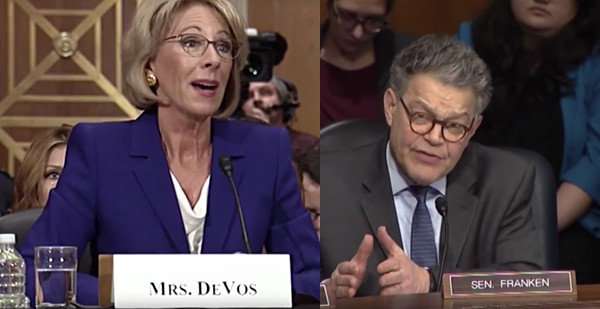 Betsy DeVos gay conversion therapy Al Franken