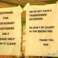 Restaurant Owner Warns Transgender Customers: Don't Be Caught in the Wrong Bathroom – WATCH