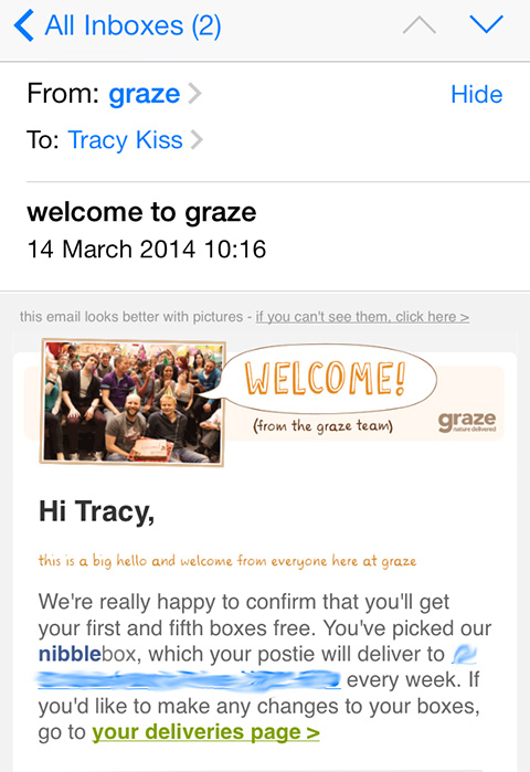 Graze Confirmed My First Order By Email
