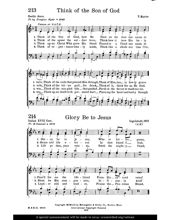 From the St. Pius X Hymnal. Found online at ccwatershed.org.