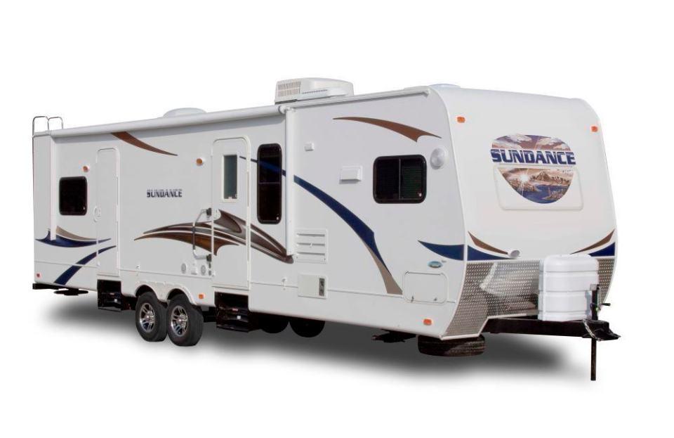 "A ""camp model"" travel trailer."