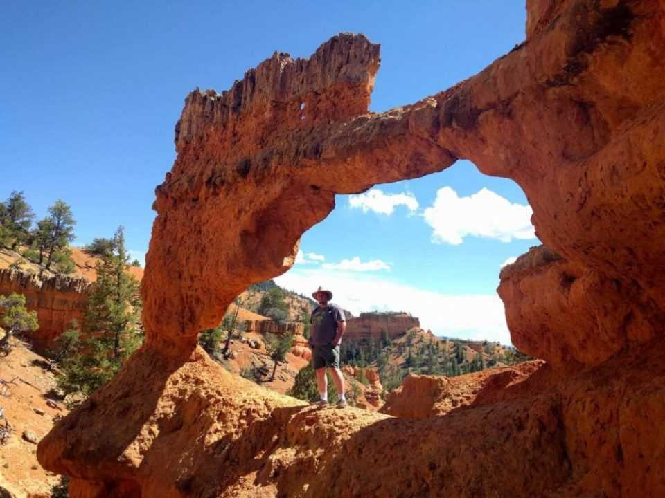 Hitch under a natural arch