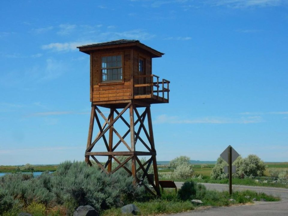 The Guard Tower marks the entrance to Miniadoka National Historical Site