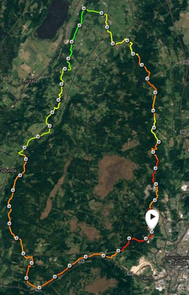 Billingen Trail Marathon KartaStigningar