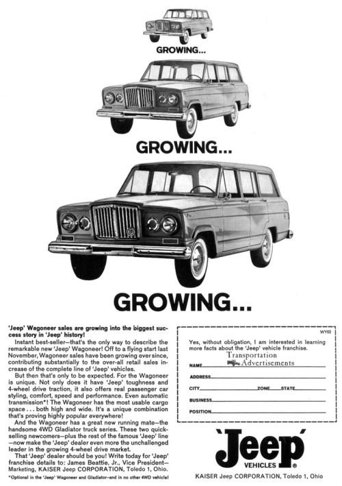 1963 jeep wagoneer and gladiator advertisement