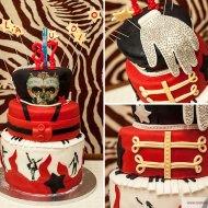 Torta Pan di Spagna farcita alle creme, coperta e decorata con pasta di zucchero - Ispirata a Michael Jackson