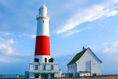 "This lighthouse looking out into the Channel at Portland Bill reminded me of ""Round the Twist"""
