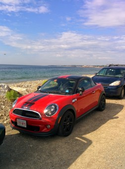 Not the ideal scuba diving car but we had great fun driving along the windy Massachusetts coastline.