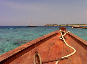 Dive boats here are traditional wooden outrigger ships