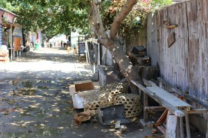 Chicken coops in a quiet alleyway on Gili T