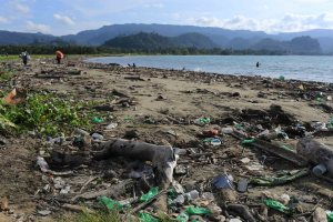 The polluted beach at Vanimo