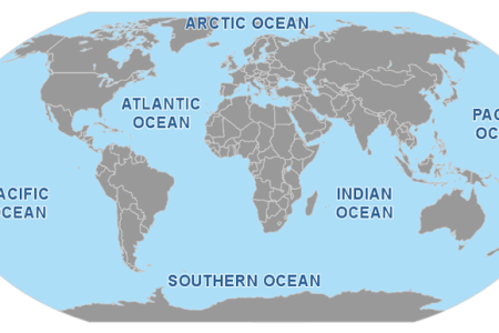Map Of Seas And Oceans - Map of us and oceans