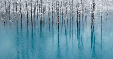 Blue pond in Hokkaido in Japan (1)
