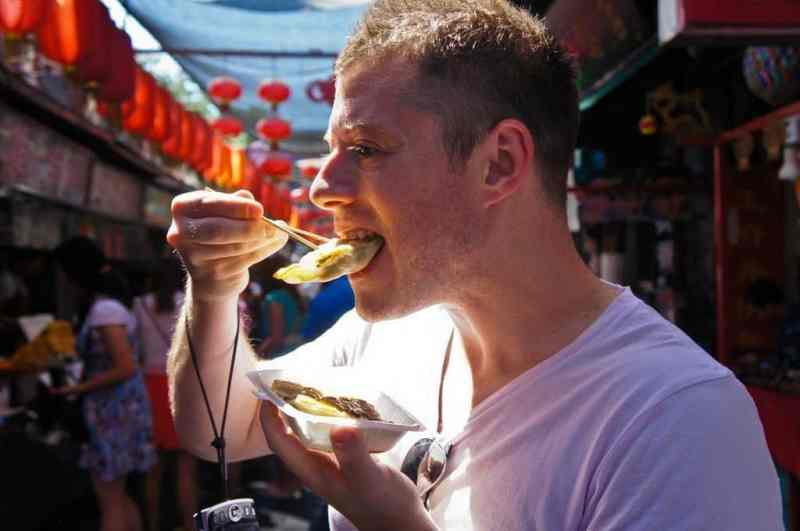Eating something fried
