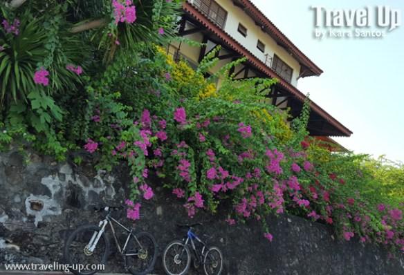 corregidor island philippines hotel facade with bikes