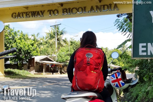 motorcycle manila to naga bicol welcome arch osprey backpack
