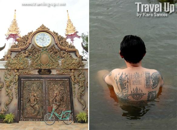 amphawa thailand riverside monk tattoo door  bicycle