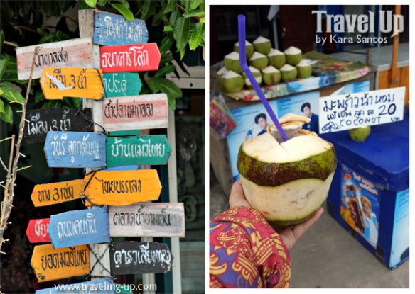 bicycle amphawa thailand riverside floating market signboard coconut