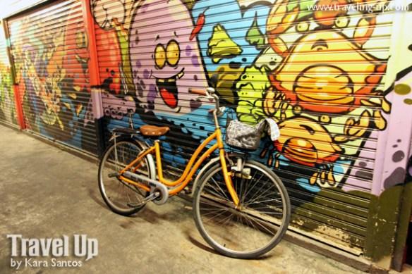 bicycle graffiti riverside bar amphawa thailand