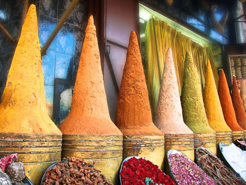 Colorful spice souk in Marrakesh