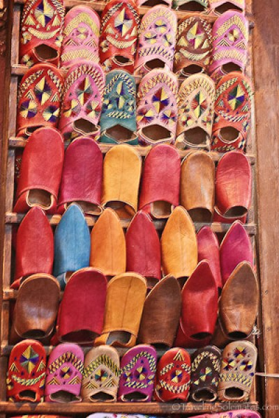 Colorful slippers in Marrakech souk