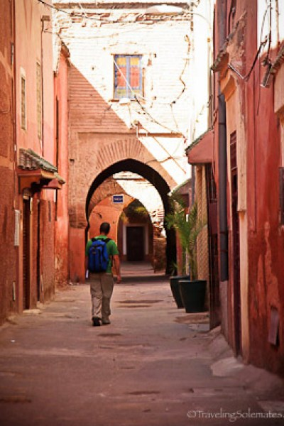 Man walking on the street Marrakesh Medina