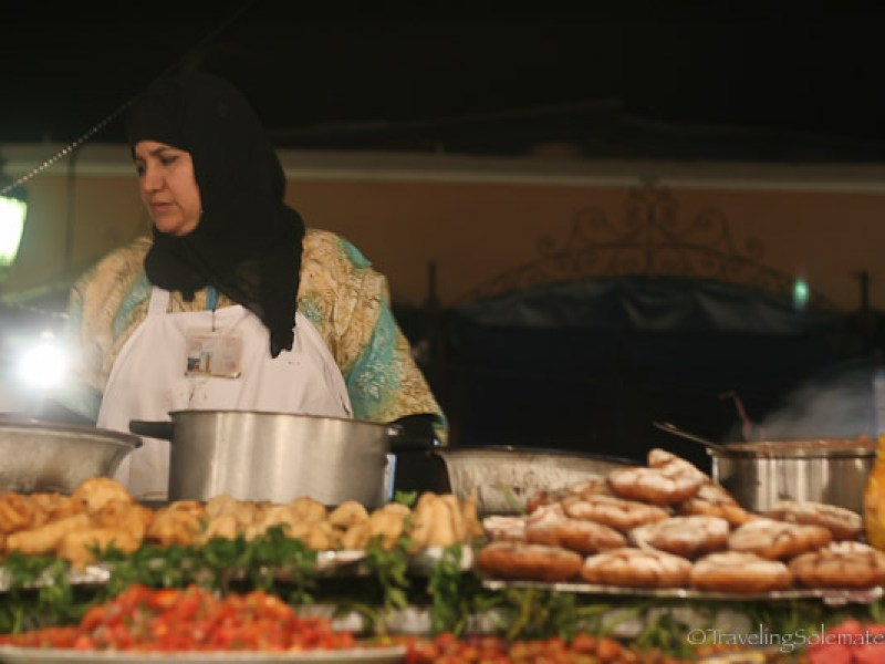 Woman food vendor in Djemaa el Fna Marrackesh